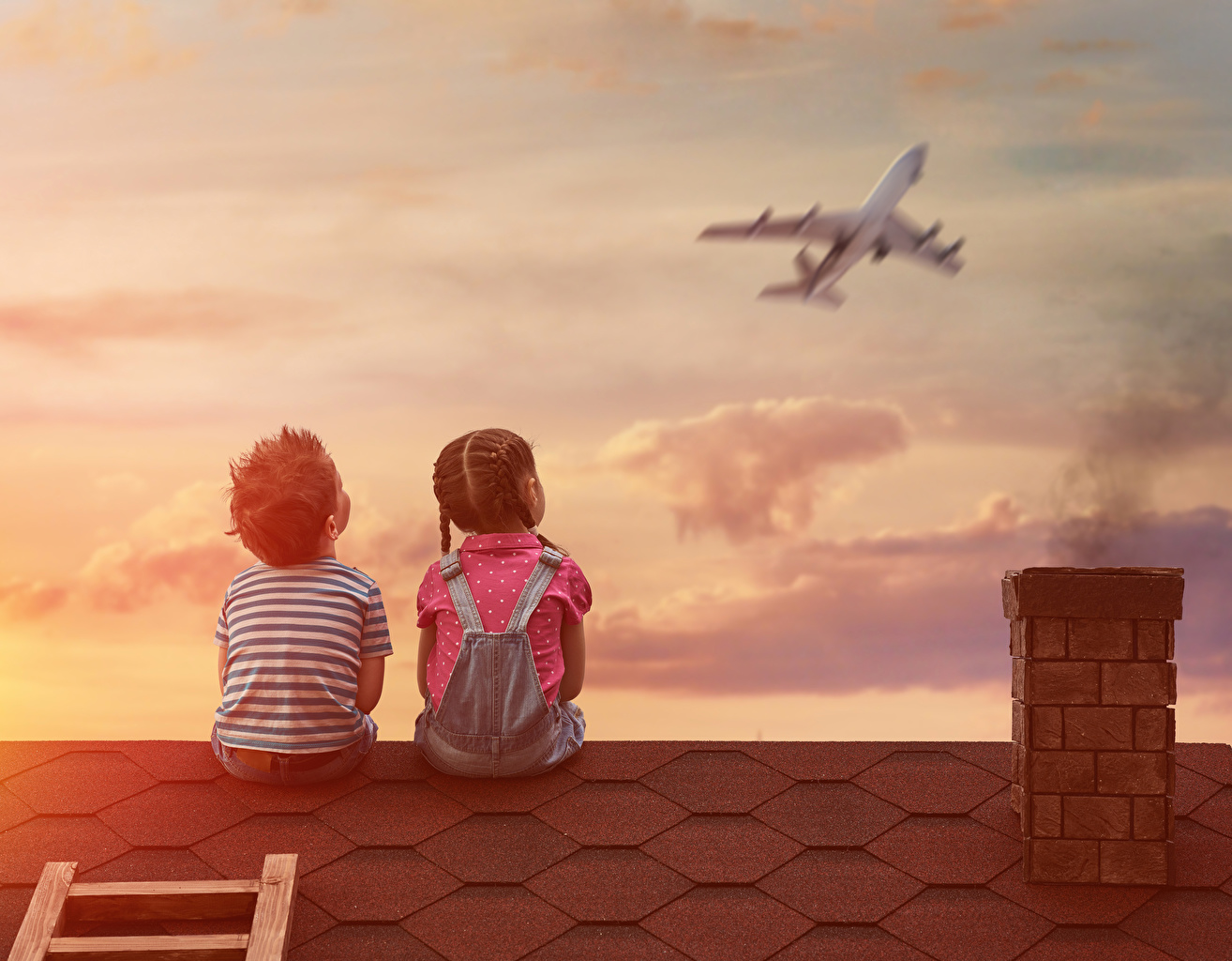 Airplane_Boys_Little_girls_Two_Human_back_Sitting_512820_1314x1024